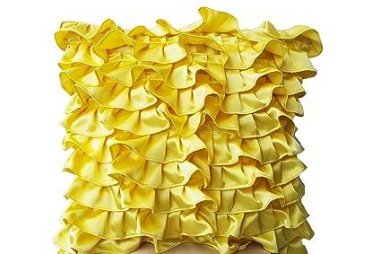 Amazon Amore Beaute Yellow Pillowcases In Fun Flirty Ruffles Interesting Bright Yellow Decorative Pillows