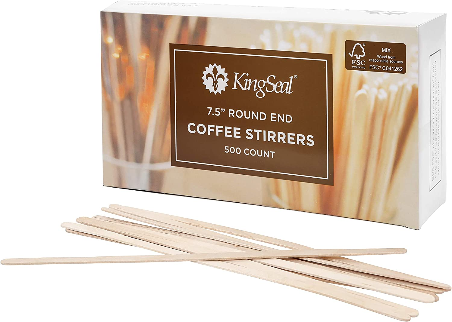 """500 ct Wooden 7.5/"""" Round End Classic COFFEE STIRRERS Dispenser Box FREE SHIP"""
