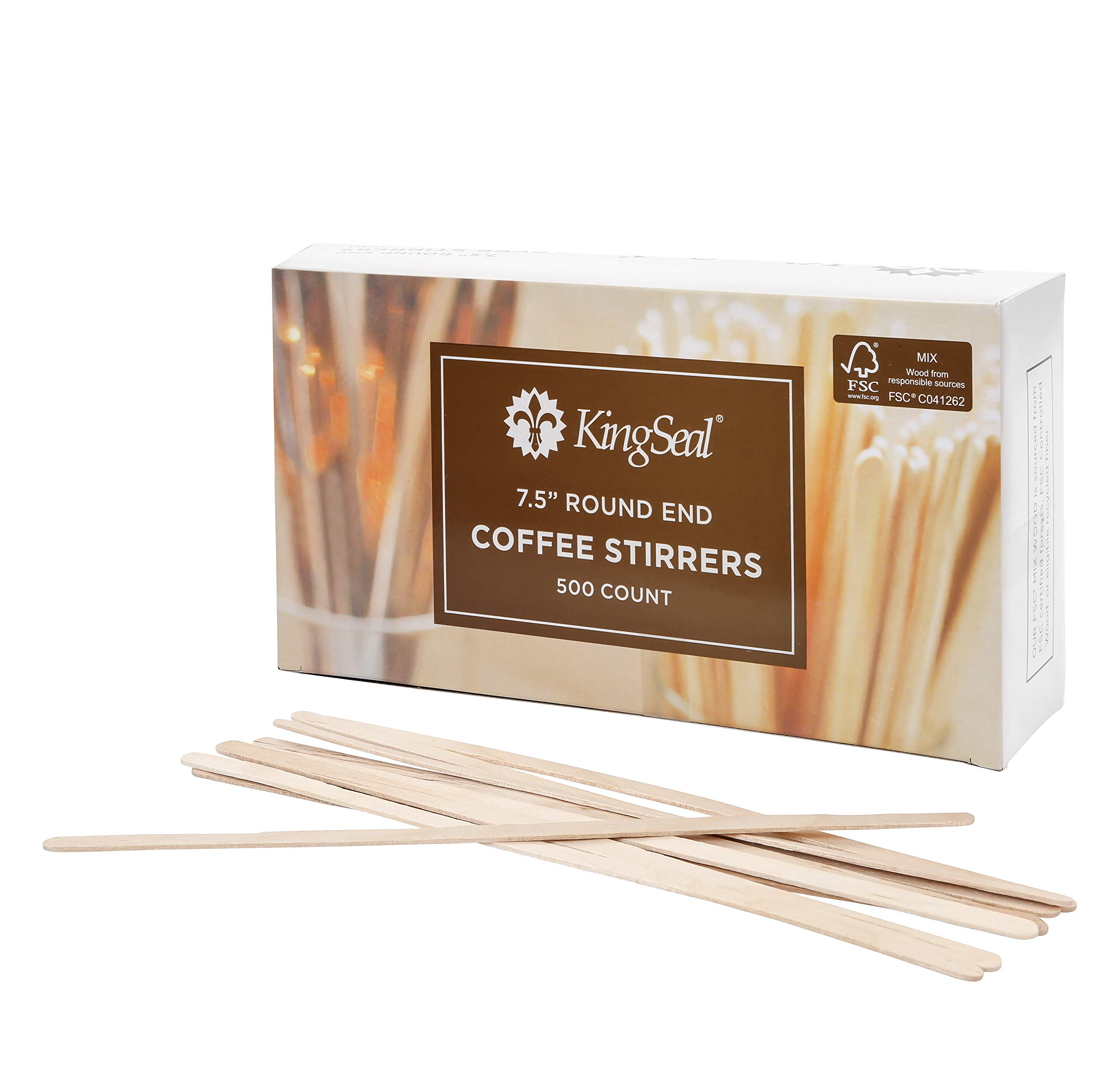KingSeal FSC Certified Sustainably Sourced Birch Wood Coffee Stirrers, Stir Sticks - 7.5 Inches, Round End, 10 Packs of 500 per Case