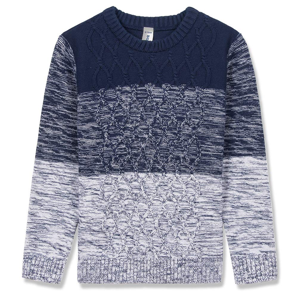BOBOYOYO Boy's Pullover Sweater Long Sleeve Round Neck Cotton Cable Knit Sweater Casual Style 6-14Y
