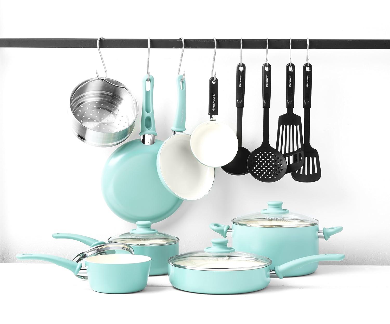 Amazon.com: GreenLife Soft Grip 16pc Ceramic Non-Stick Cookware Set ...