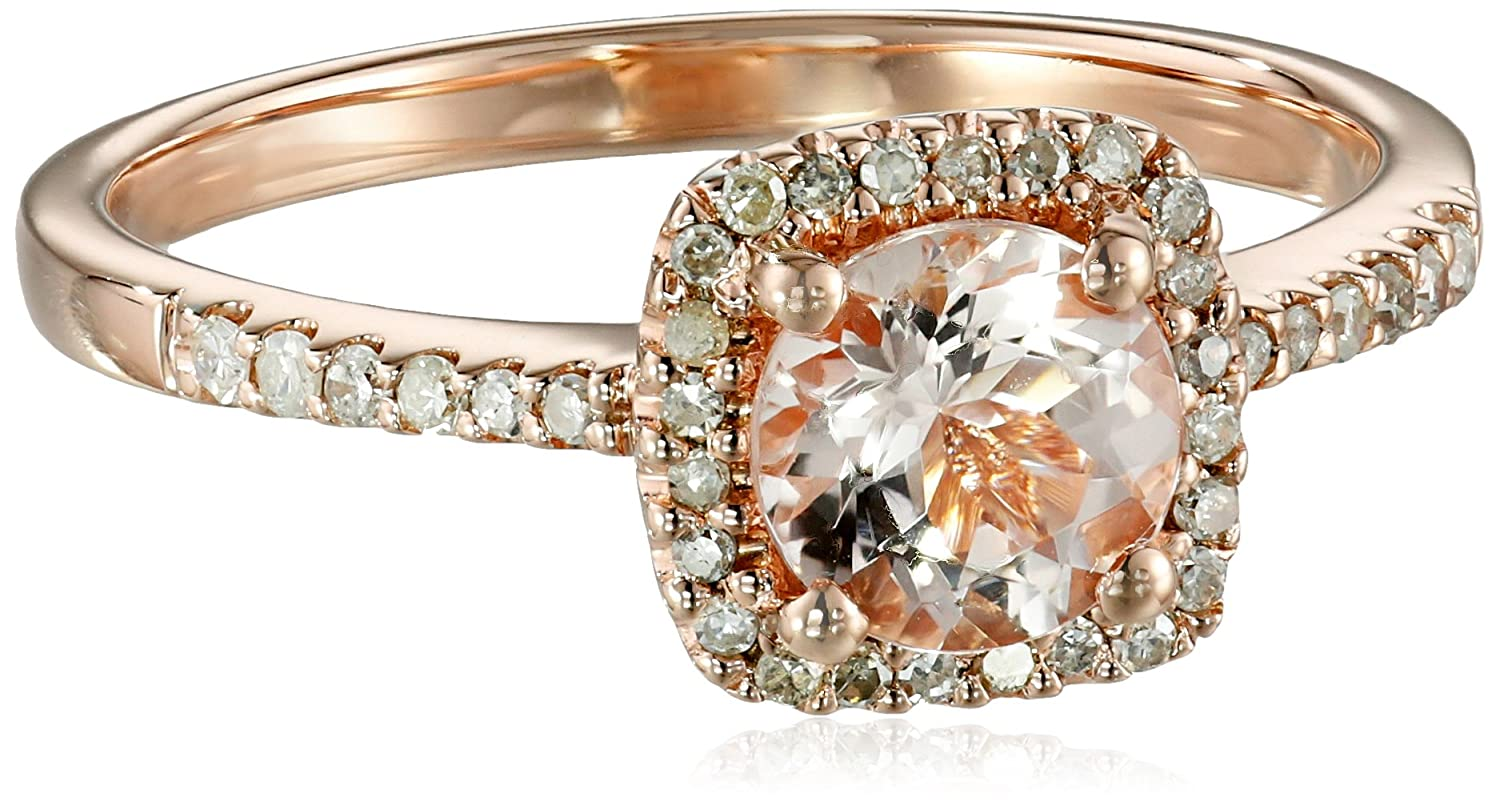 10k Pink Gold Morganite and Diamond (1/10cttw) Ring, Size 7