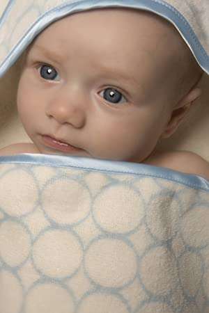 SwaddleDesigns Baby-Kapuzenhandt/ücher aus Bio Baumwolle Poppige Kreise und Kapuze mit Satinabschl/üssen Pastellblau