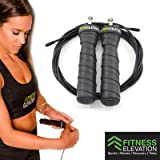 Skipping Rope for Beginners to Professionals | Jump Rope with 2 Adjustable High Speed Cables | Anti-Slip Ergonomic Handles | Pro Sport Ball Bearing Technology | Crossfit, Boxing, HIIT, MMA, GYM | Travel, Office or Home Workout