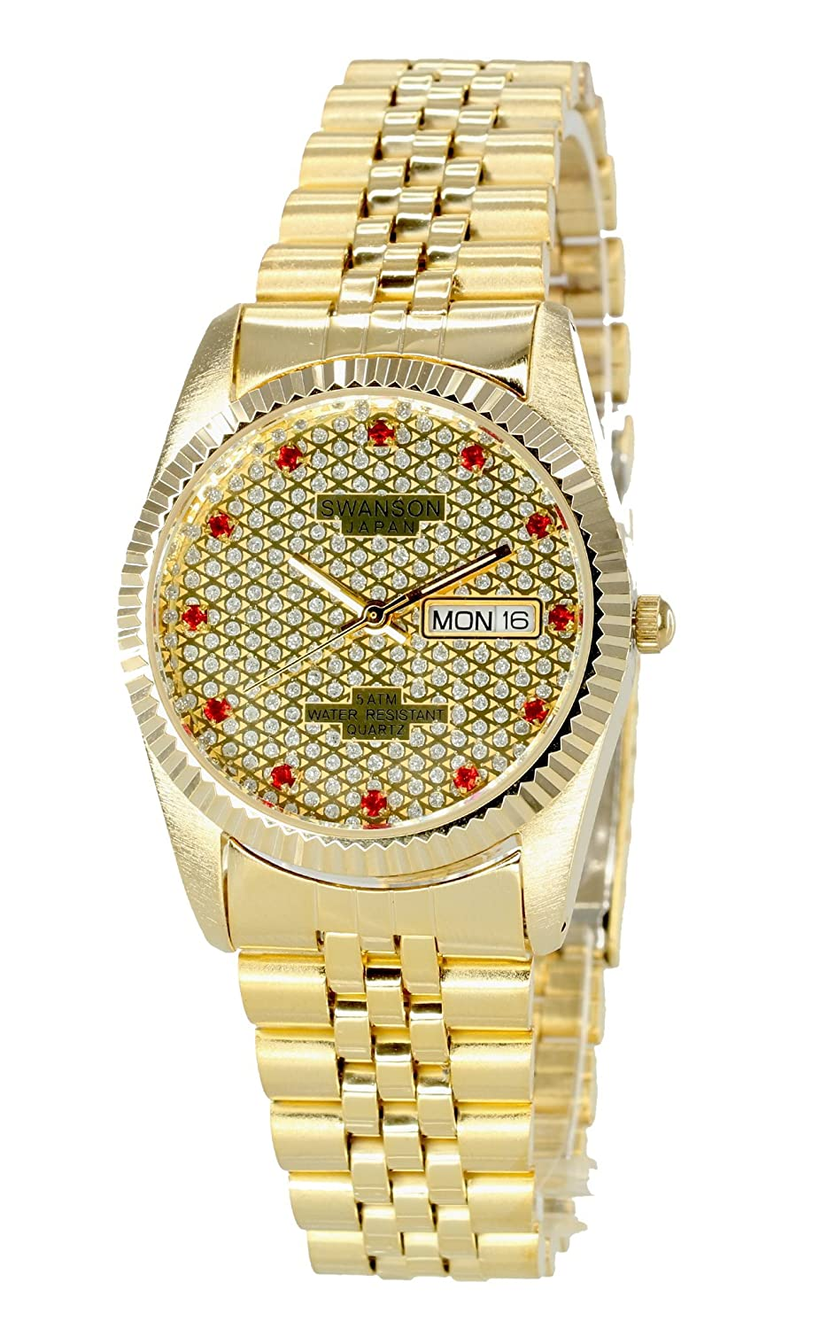Amazon.com: Swanson Japan Mens Gold Day-Date Watch Red Stone Gold Dial: Swanson Japan: Watches