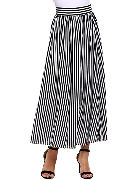 a1fabc864a4702 Zeagoo Women's Print Vertical Stripes Pleated A-Line Maxi Skirt Zebra  Stripes X-Large at Amazon Women's Clothing store: