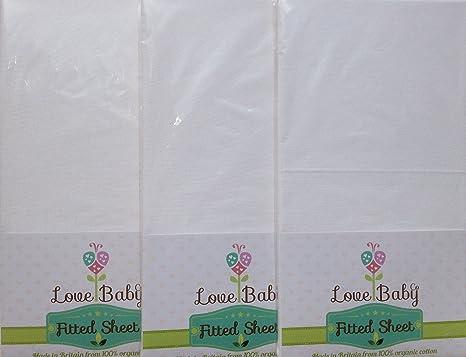 3 x Sábanas ajustable de cuna, 100 % algodón orgánico, hasta 78 x 33 cm, gran borde redondo, color blanco: Amazon.es: Bebé