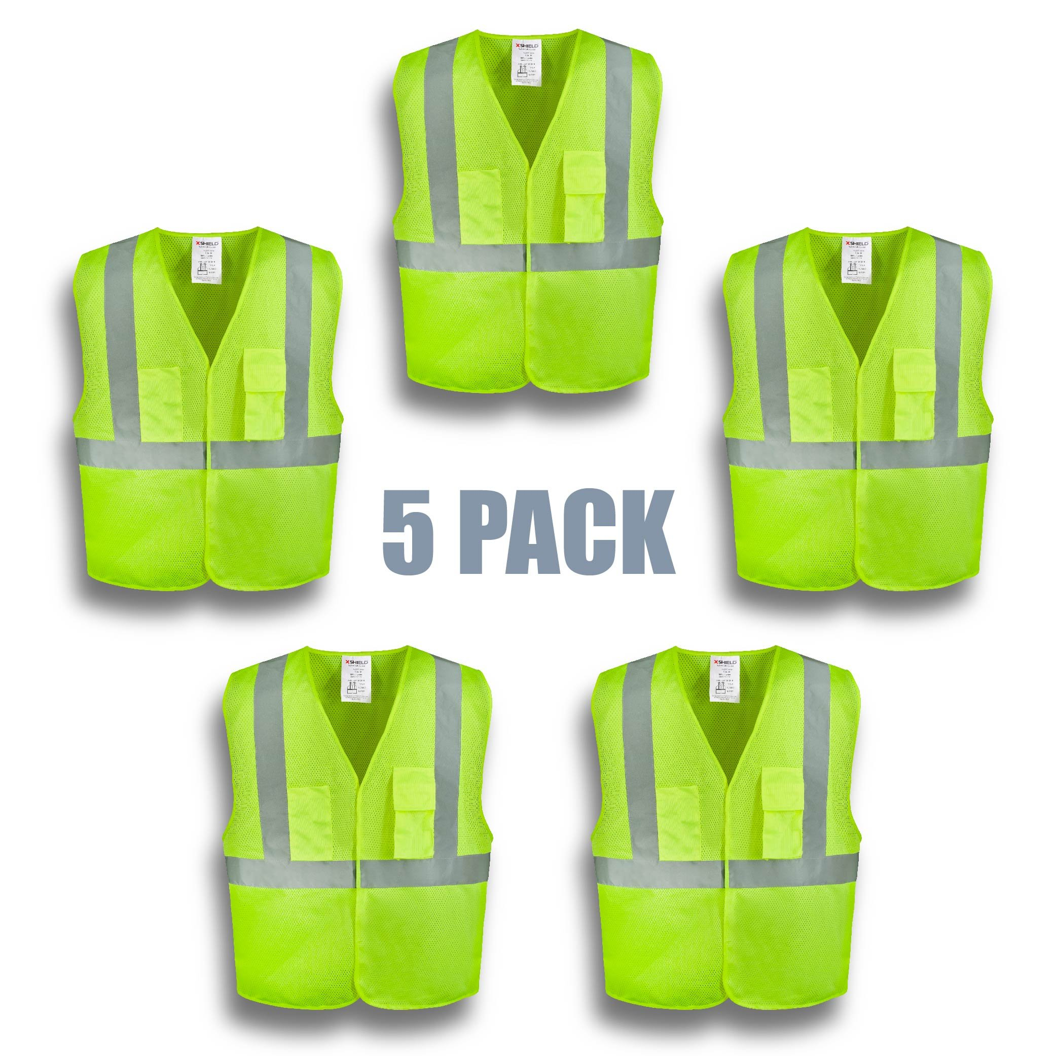 XSHIELD XS0003,High Visibility Safety Vest with Silver Stripe,ANSI/ISEA 107-2015 Type R Class2 Not FR,Pack of 5 (L, Yellow)