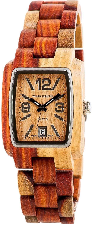 TENSE Mens Timber Premium Holzuhr J8102I - NatÜrliches Sandelholz J8102I
