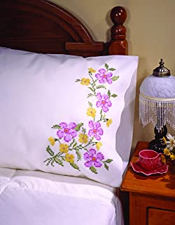 """Tobin Stamped Pillow Cases ROSES AND LACE  for Embroidery 20/"""" x 30/"""" 1 Pair"""