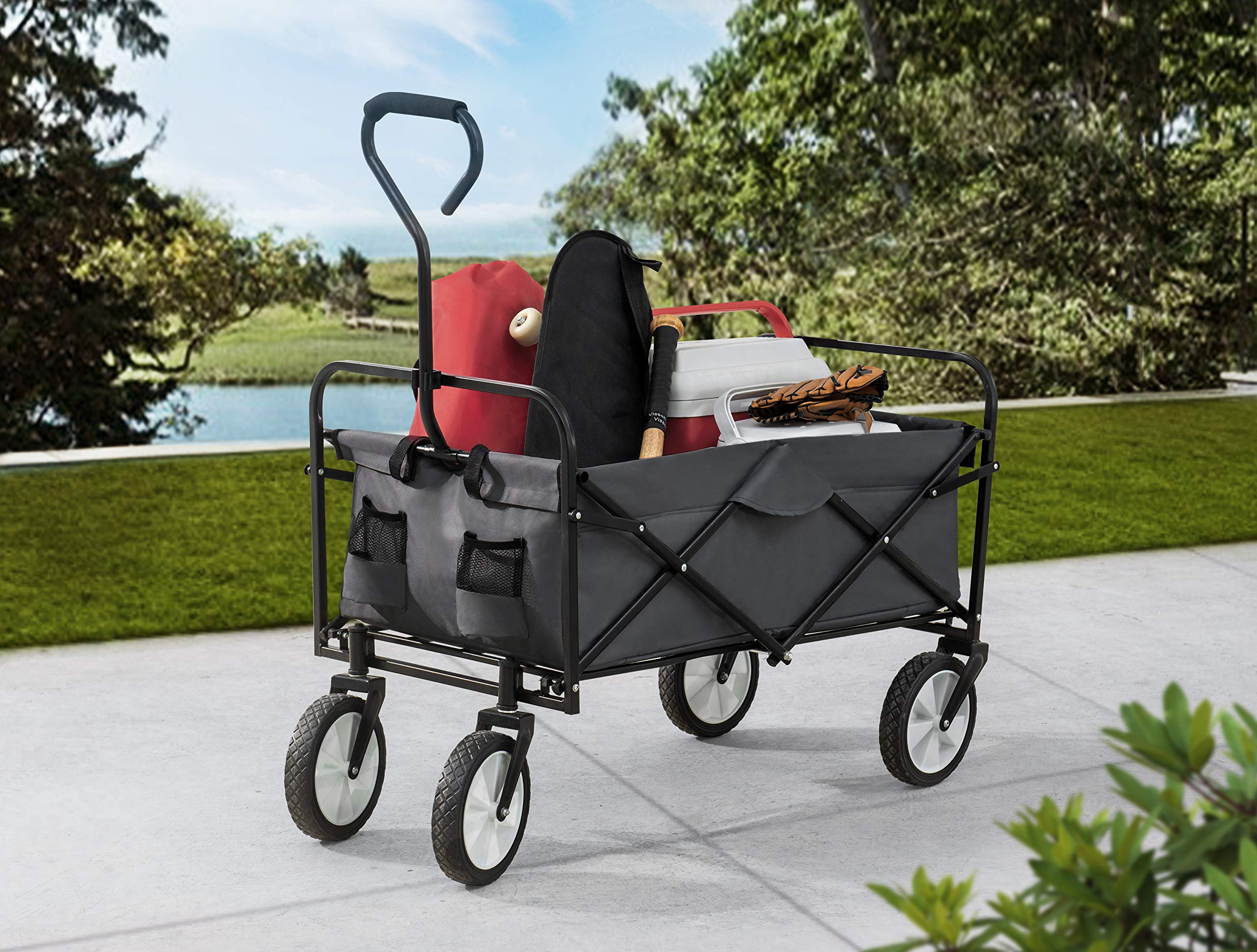 S2 Lifestyle Brazee Collapsible Folding Wagon Cart with Wheels, Gray by S2 Lifestyle