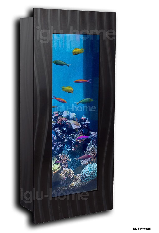 Vertical montado en la pared acuario Fish Tank Cristal + accesorios plata negro: Amazon.es: Productos para mascotas