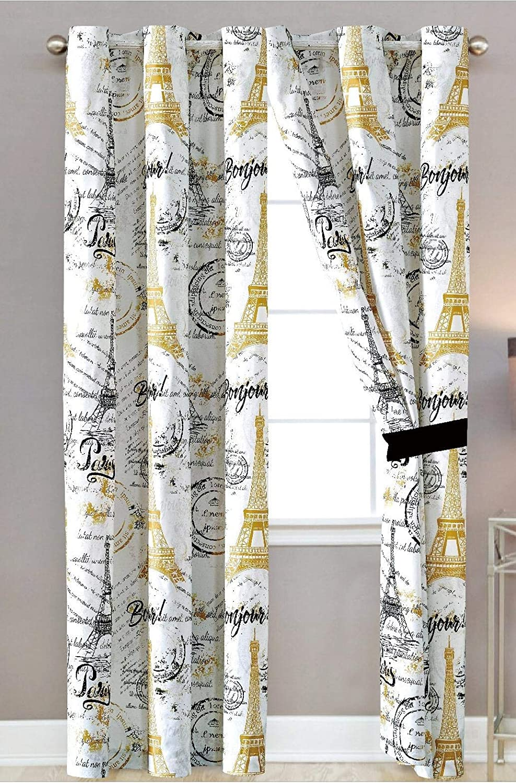 Sapphire Home Window Curtain Panel Set (2 Panels) with Sheer Backing, Silver Grommet, Paris Eiffel Tower Theme, Black White Gold, Curtain Paris Black
