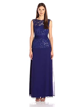 9be6d95d12a ONYX Nite Women s Long Lace Mesh Gown Tie Waist at Amazon Women s ...