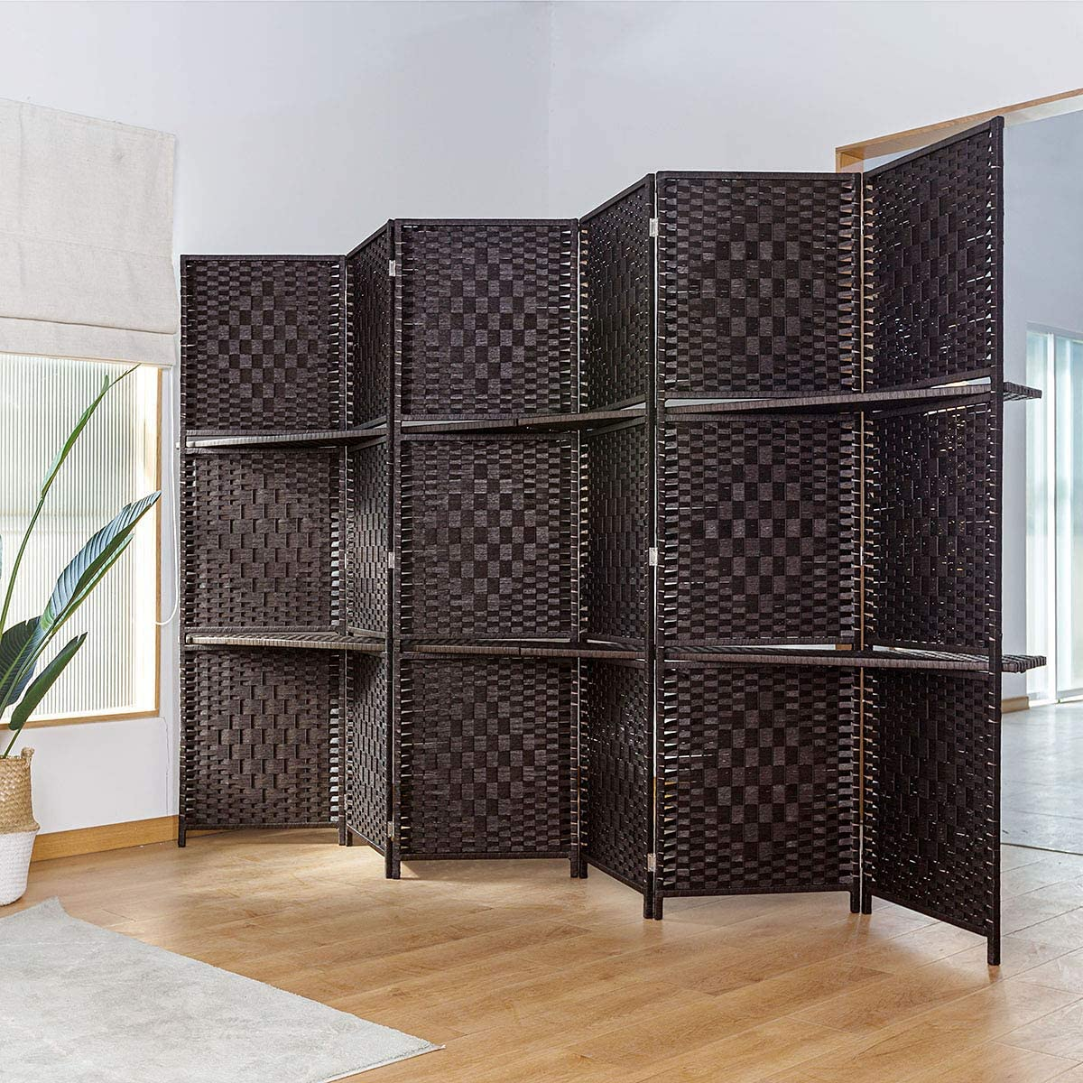 TinyTimes 6 FT Tall Room Divider with Removable Storage Shelves, 6 Panel Weave Fiber Extra Wide Room Divider, Room Dividers & Folding Screens, Freestanding - Dark Brown, 6 Panel