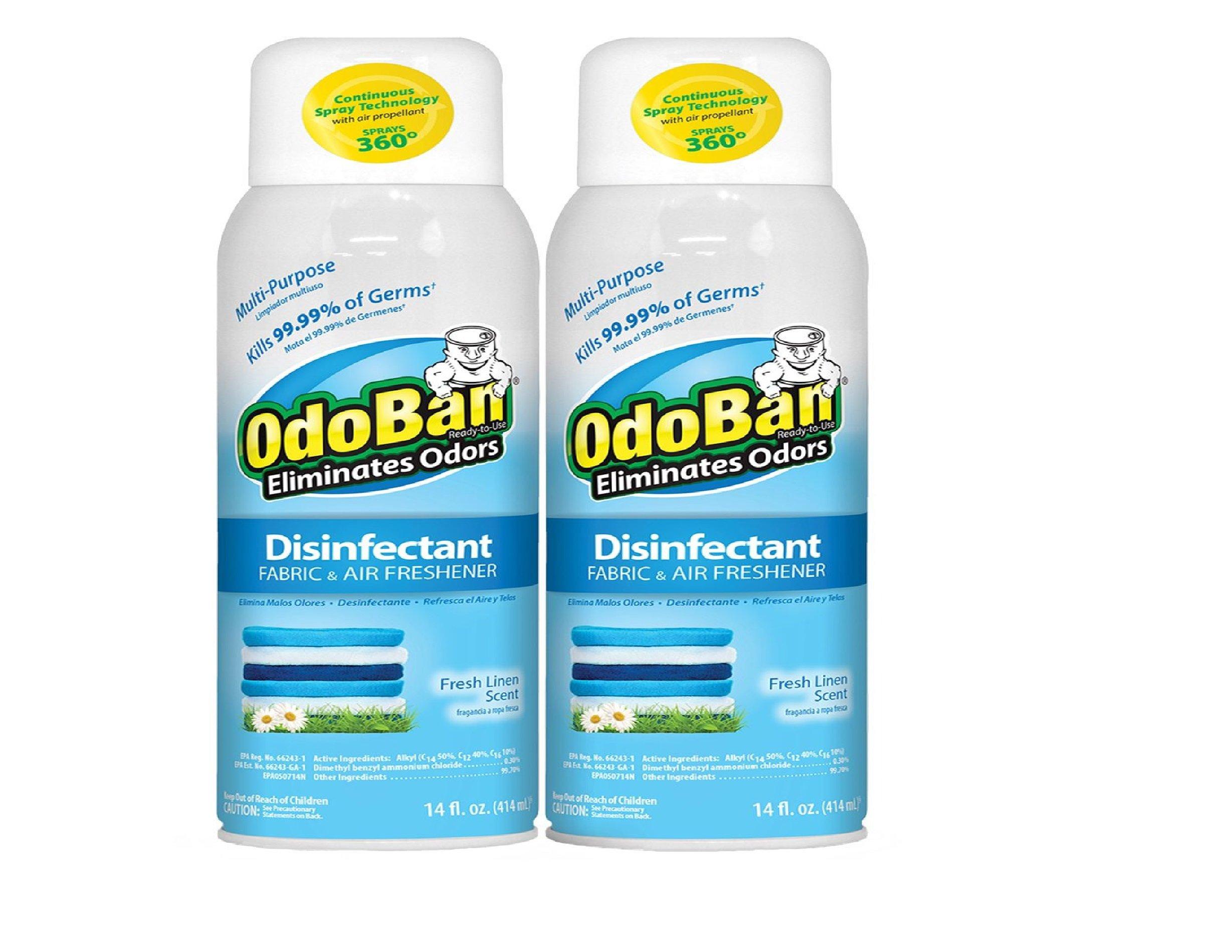 Odoban Disinfectant Fabric & Air Freshener Spray Fresh Linen Scent (14oz 2pk)