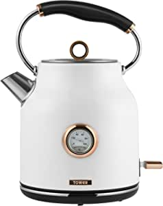 Tower Bottega T10020W Rapid Boil Traditional Kettle with Temperature Dial, Boil Dry Protection, Automatic Shut Off, Quiet Boil, Stainless Steel, 3000 W, 1.7 Litre, White and Rose Gold