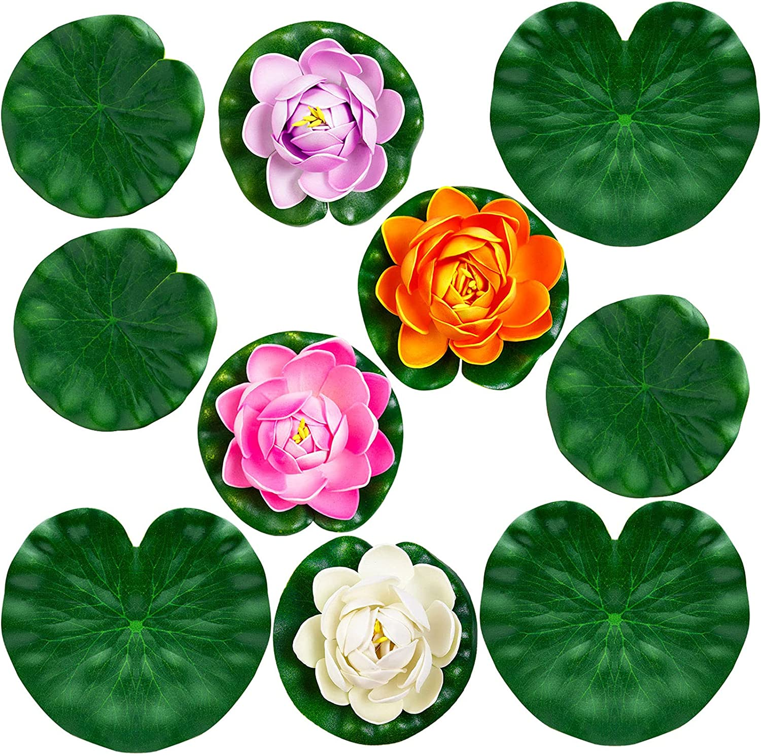 10Pcs Artificial Lotus and Lily Pads for Ponds, Artificial Floating Foam Lotus Flower Realistic Water Lily Pads Leaves for Garden Koi Fish Pond Aquarium Pool Wedding Decor