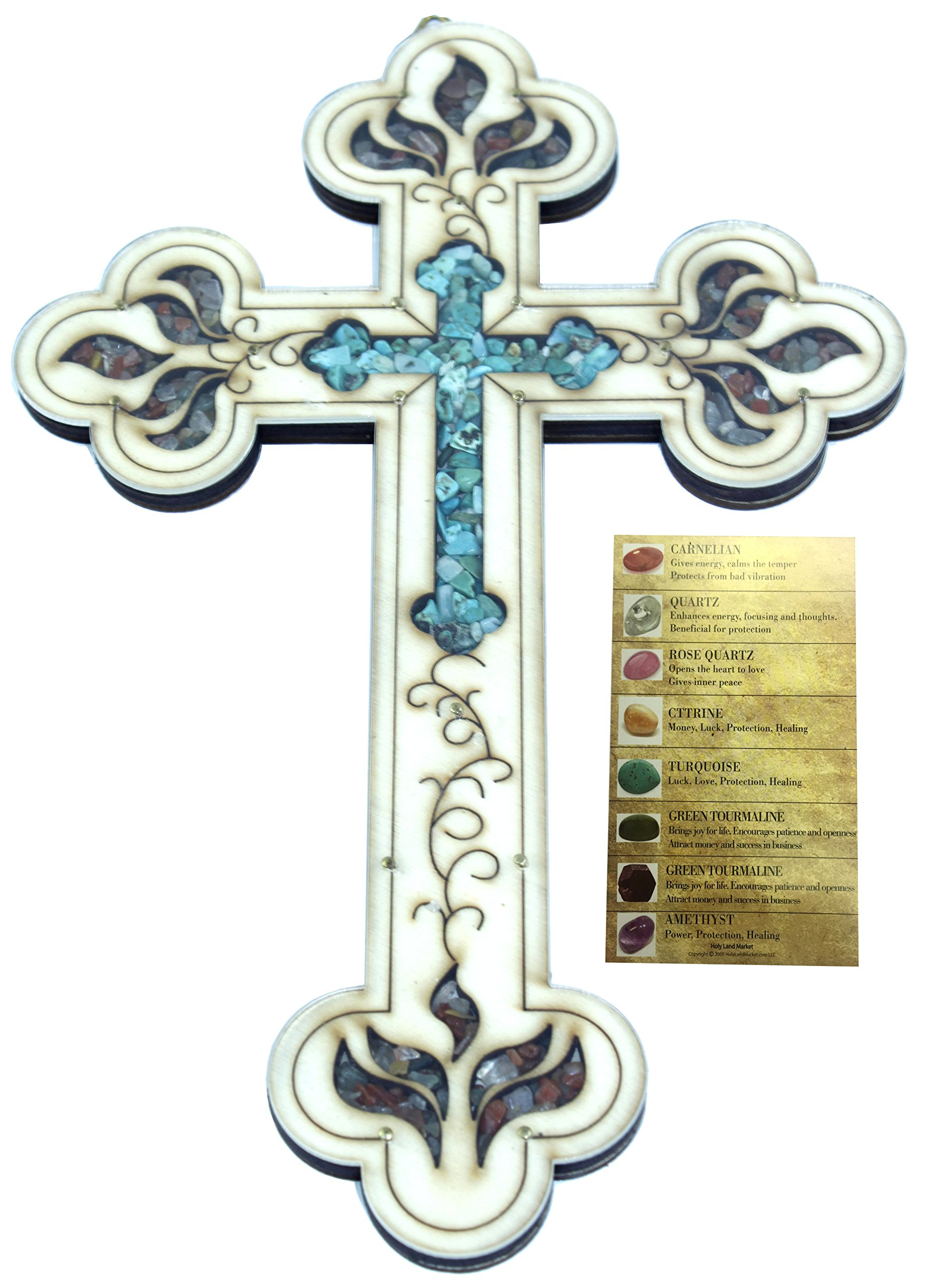 Vintage Cross filled with Turquoise and Multi-color semi precious stones from the Holy Land