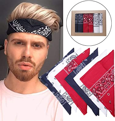 Amazon.com  LOLIAS 6 Pack Bandanas for Men Women Red Navy White ... 8a8ec71f79e