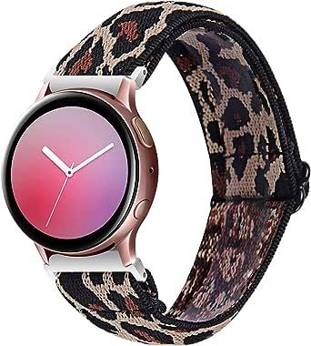 Chofit Armband compatibel met Garmin Venu Sq/Amazfit Bip U Pro/Amazfit GTS 2e/Samsung Galaxy Watch 3 41mm bandjes, geweven nylon bloemenpatroon elastische armbanden vervanging 20mm sport polsband