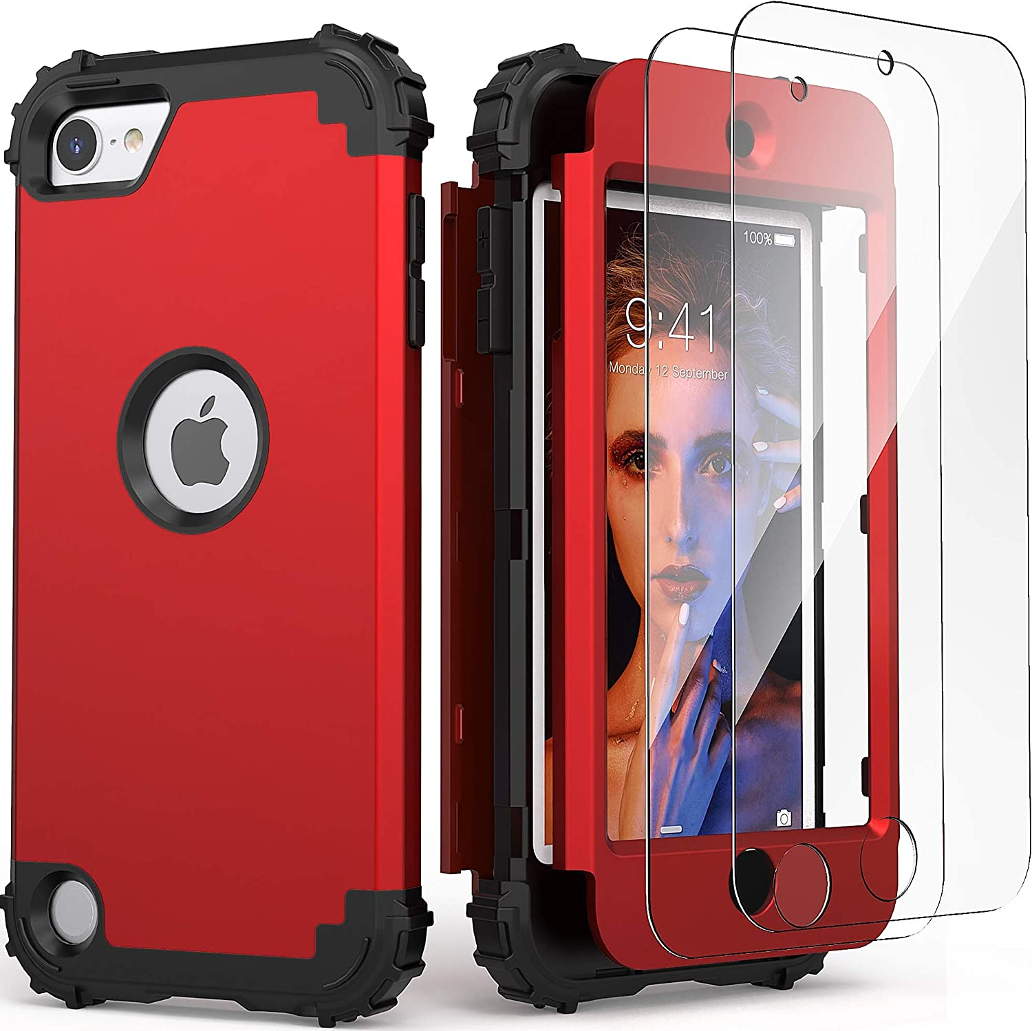 iPod Touch 7th Generation Case with 2 Screen Protectors, IDweel Hybrid 3 in 1 Shockproof Slim Heavy Duty Hard PC Cover Soft Silicone Rugged Bumper Full Body Case for iPod Touch 5/6/7th Gen, Red