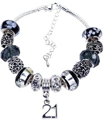 fe7c69046 21st Birthday Bracelet, Silver Charm Bracelet, Silver, Crystal, with  Complimentary Gift Box