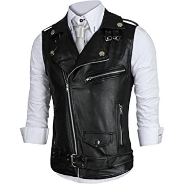 34ff4d66d936cf REYUY Men s Sleeveless Motorcycle Jacket Vest Faux Leather Waistcoat ...