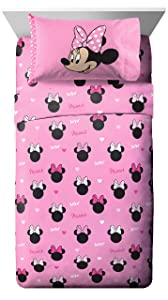 Jay Franco Disney Minnie Mouse Hearts N Love Twin Sheet Set - 3 Piece Set Super Soft and Cozy Kid's Bedding - Fade Resistant Microfiber Sheets (Official Disney Product)