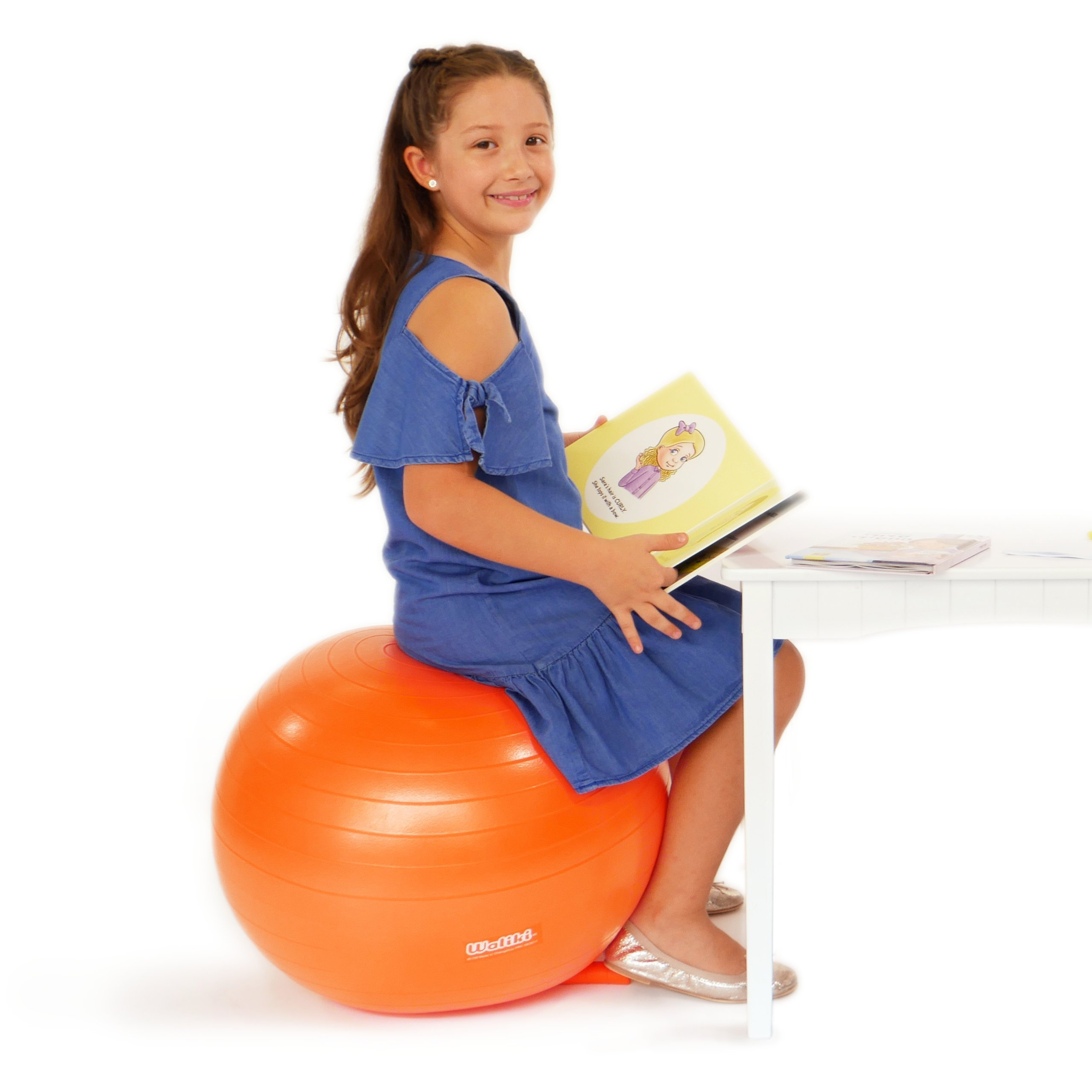 WALIKI TOYS Children's Chair Ball with Feet, Alternative Classroom Seating (Inflatable Balance Ball Chair With Stability Legs for School, Pump Included, 18''/45CM, Orange) by WALIKI (Image #4)