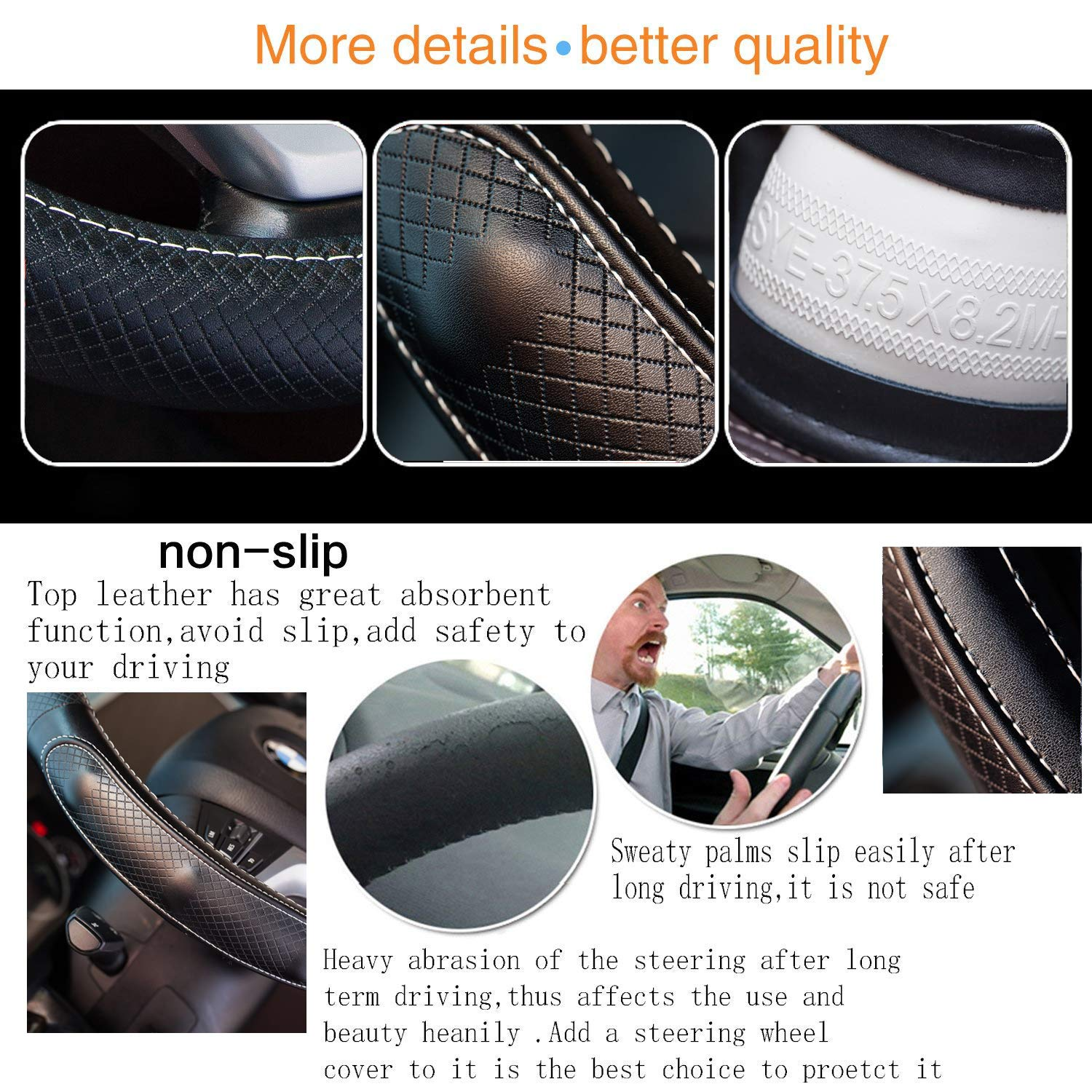 Super Accessories Auto Steering Wheel Cover Leather Universal 15 inch Fashion Feel Comfortable with Genuine Leather Steering Wheel Cover for Car Truck SUV (Black with White Lines)