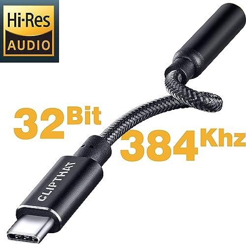 CLIPTHAT Type C to Aux Audio Jack 32Bit/384Khz Hi-Res Portable USB C DAC dongle
