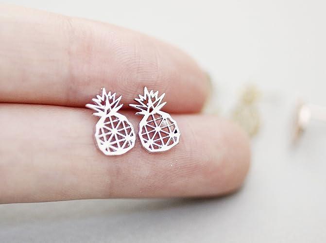 46d84c9553d98e Amazon.com: Cute Cut-Out Pineapple Stud Earrings in 3 colors: Handmade