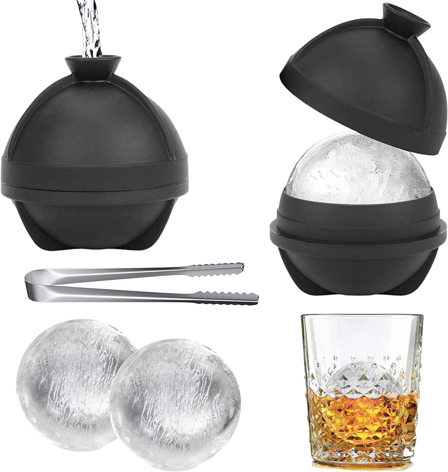 Orapink 2 Pack Ice Ball Molds - Silicone Sphere Ice Molds with Ice Tongs-Makes 2.5 Inch Large Ice Cube Trays for Whiskey & Cocktails Food Grade and BPA Free