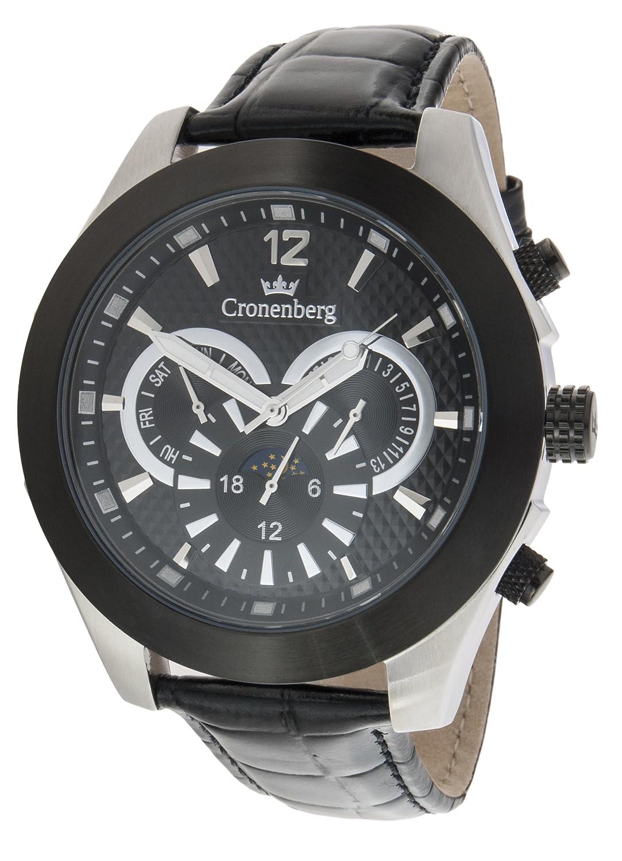 Cronenberg Herren-Armbanduhr XL Galileo Analog Quarz Leder 12073W3