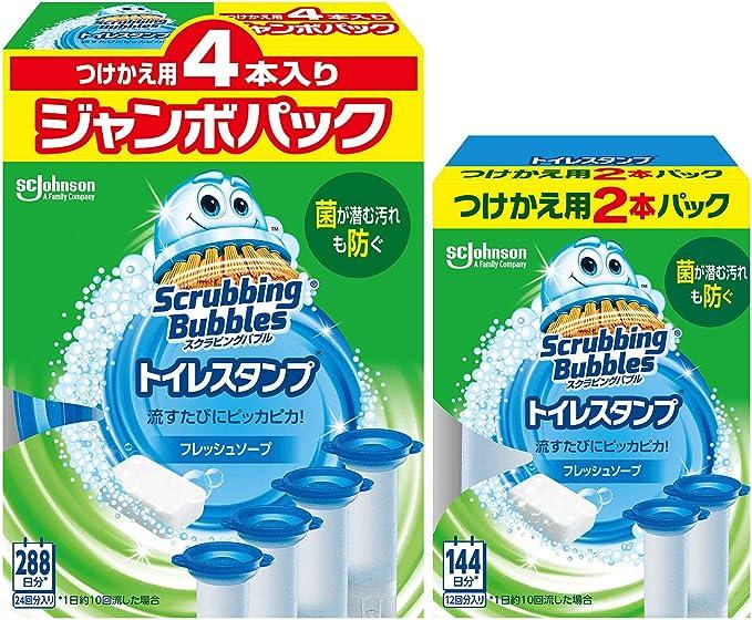 【Amazon.co.jp 限定】トイレ掃除 トイレ洗剤 スクラビングバブル トイレスタンプ 付け替え用6本セット (4本入り+2本入り) 36スタンプ分 フレッシュソープの香り まとめ買い 洗浄剤 消臭