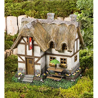 Plow & Hearth Miniature Fairy Garden Solar Light Up Tavern House with Thatched Roof Detail 10.25 L x 8.25 W x 10.25 H : Garden & Outdoor