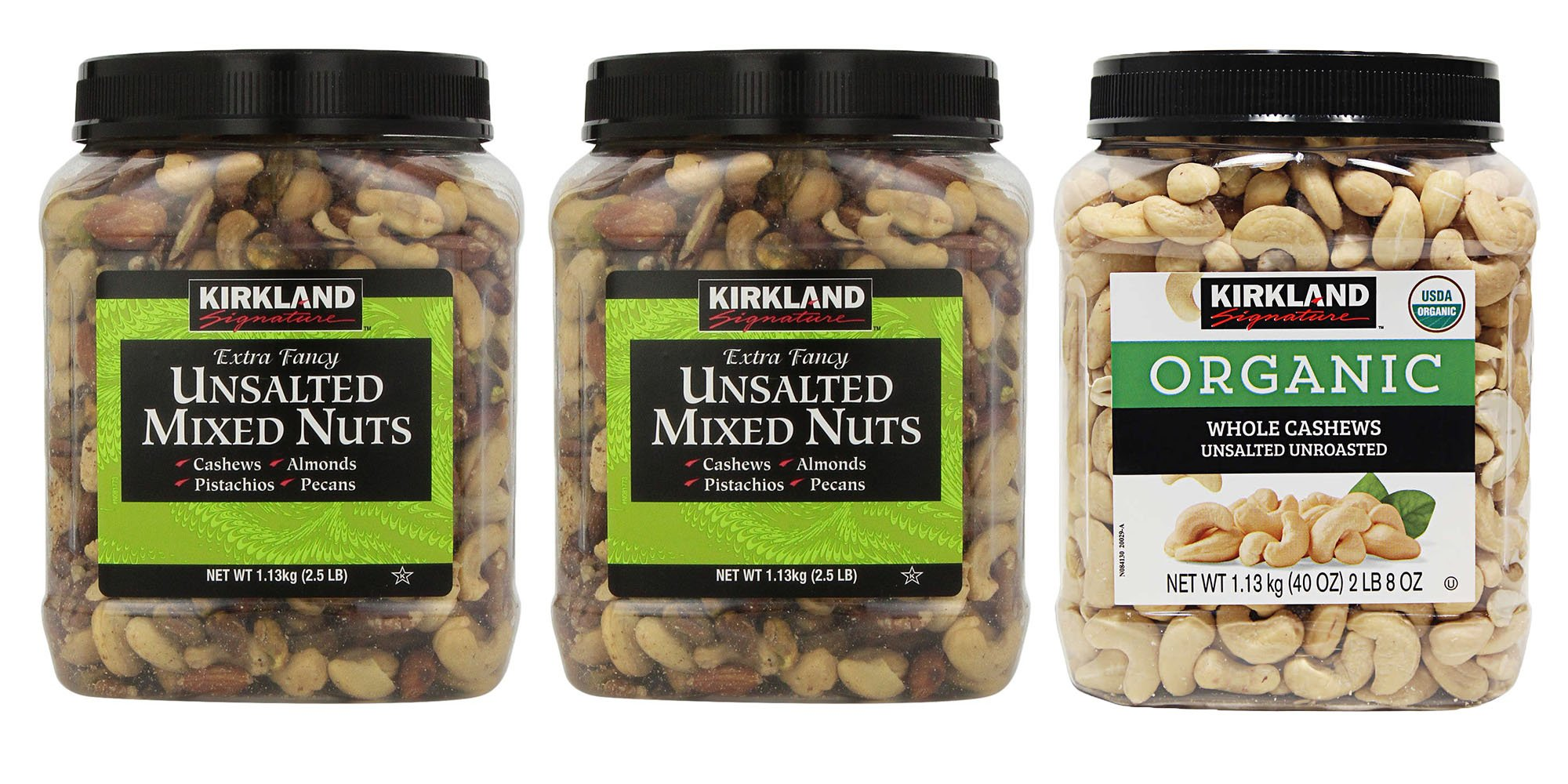 Kirkland Signature Unsalted Mixed Nuts and Organic Cashews Bundle - Includes Kirkland Signature Two Extra Fancy Unsalted Mixed Nuts (2.5 LB Each.) and Organic Unsalted Unroasted Cashews (2.0 LB)