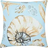 YINFUNG Coastal Pillow Covers Seashell Sea Starfish Conch Shell Throw Pillow Cases Couch Sofa 18x18 Decorative Outdoor Cushion Cover Canvas Cotton Nautical Teal Blue Ocean Living Room Kids 1 Piece