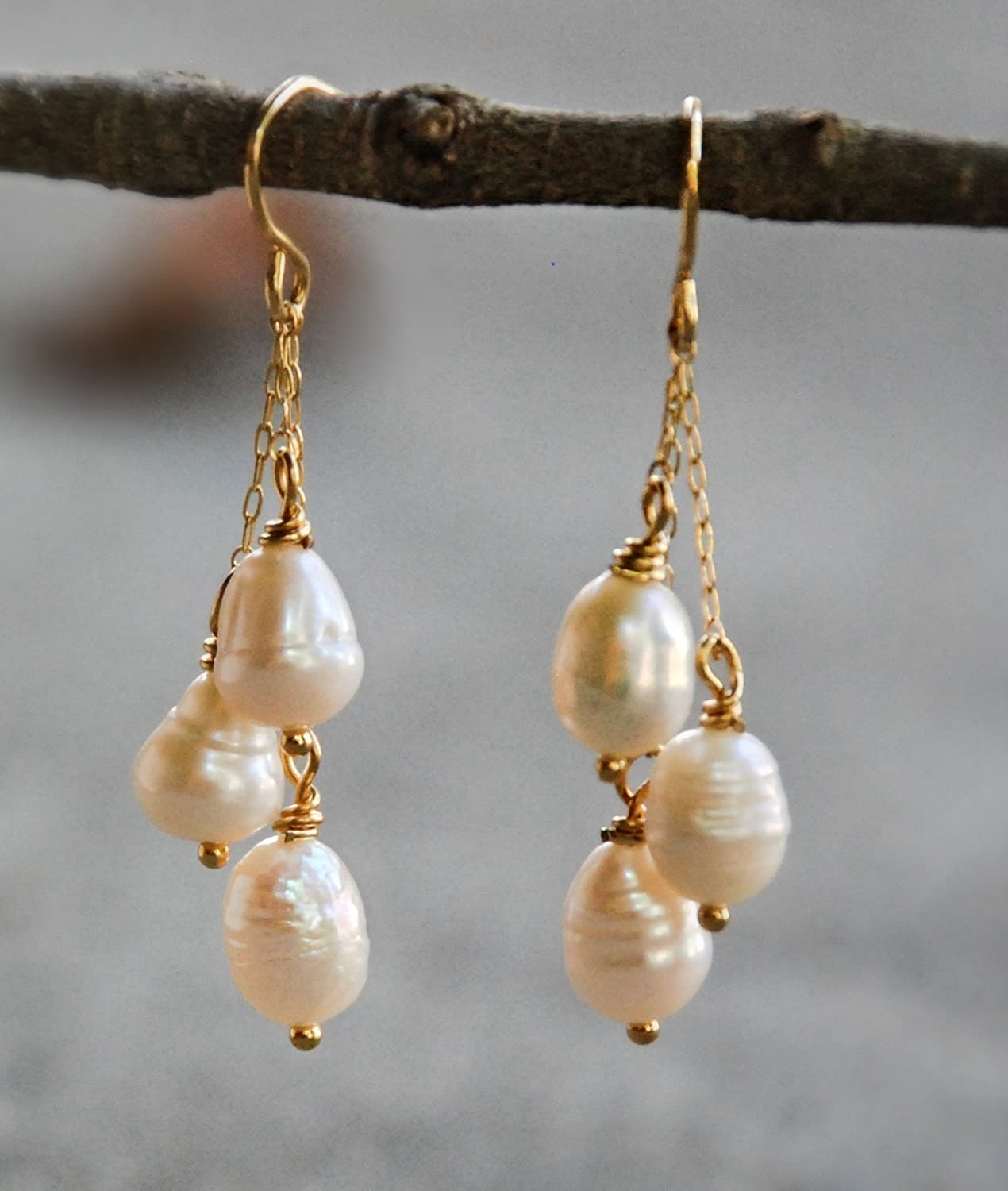 1 1/2 Inch Gold Tone Cultured Cream Freshwater Pearl Drop Earrings Wedding Bridal Bridesmaids Jewelry