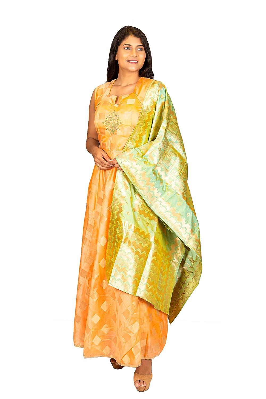 Buy Advaita Inc women's designer orange chanderi silk chudidar kurta with  green brocade dupatta, Indian gown for women latest size at Amazon.in