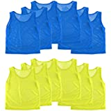 Nylon Mesh Scrimmage Team Practice Vests Pinnies Jerseys for Children Youth Sports Basketball, Soccer, Football, Volleyball (