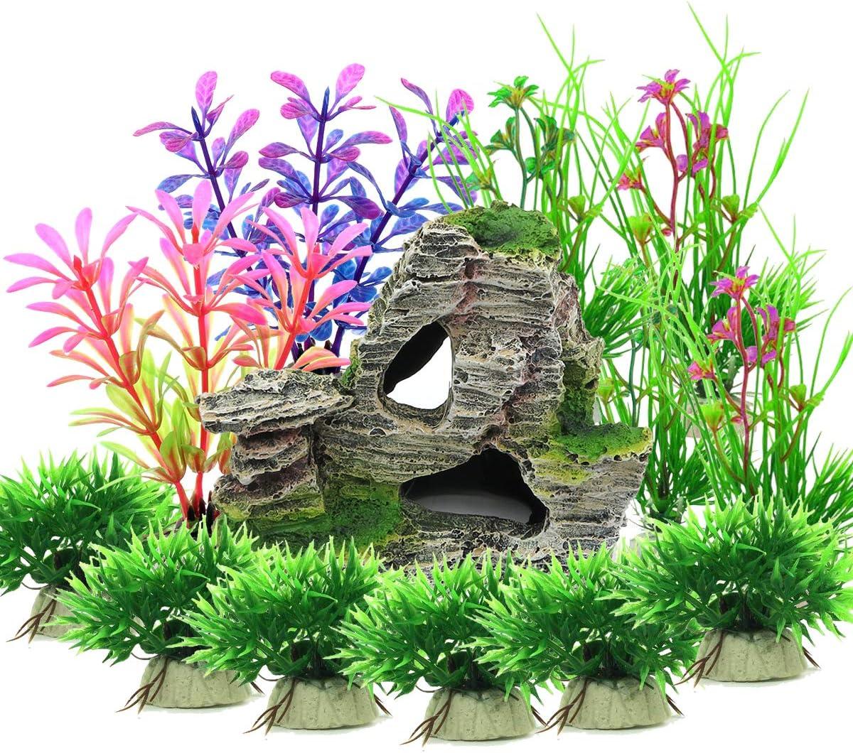 Vibury Plantas Artificiales Acuario, 13 Piezas Plantas Verdes de Acuario de plástico y Acuario, Arrecife de montaña, Cueva de Roca, Resina, pecera, decoración de Acuario