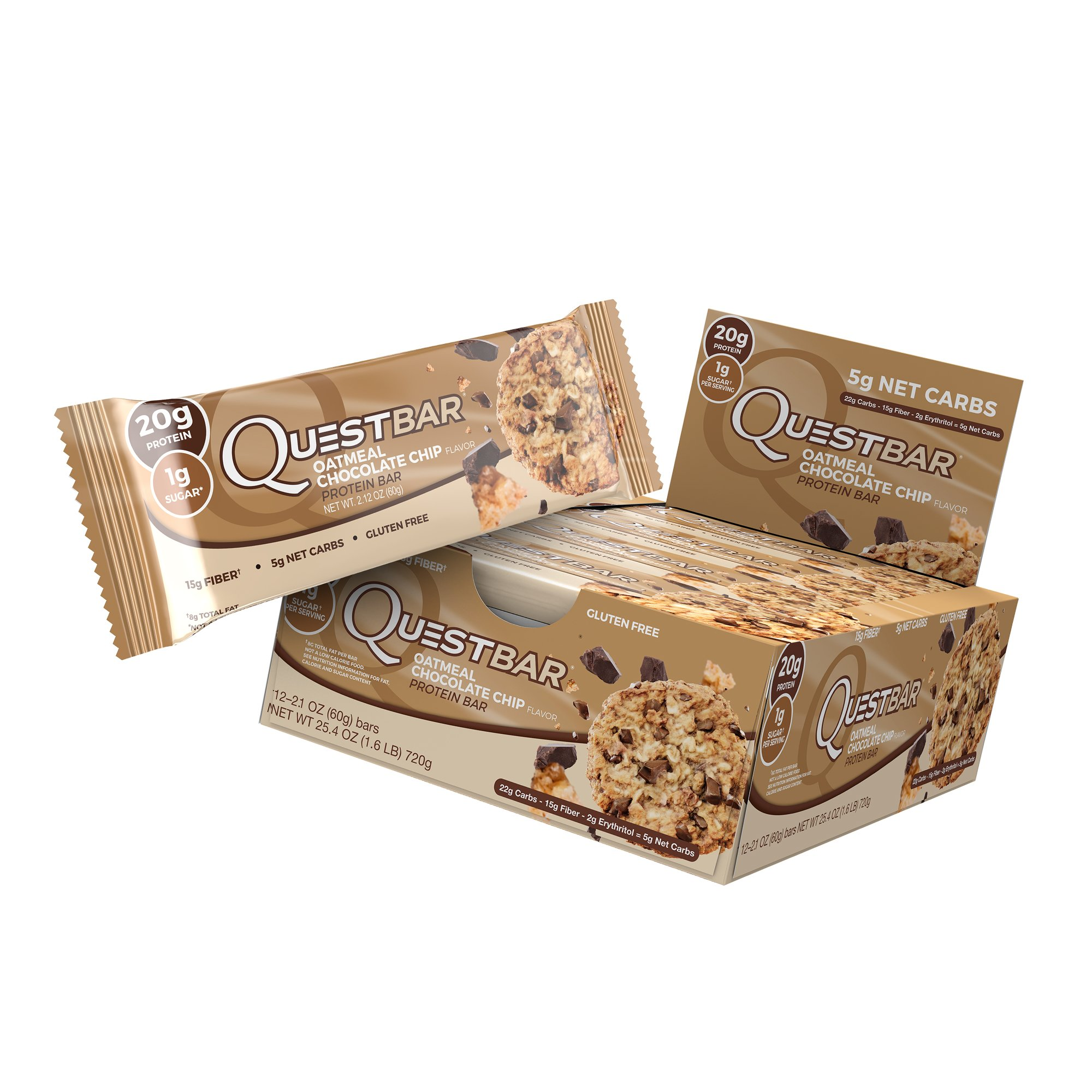 Quest Nutrition Protein Bar, Oatmeal Chocolate Chip, 20g Protein, 5g Net Carbs, 190 Cals, High Protein Bars, Low Carb Bars, Soy Free, 2.1 oz Bar, 12 Count