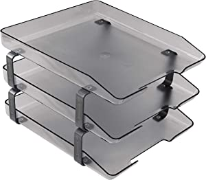 Acrimet Traditional Letter Tray 3 Tier Front Load Plastic Desktop File Organizer (Smoke Color)
