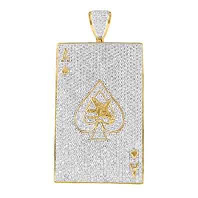 Ace of spades pendant 14k yellow gold finish simulated diamonds iced ace of spades pendant 14k yellow gold finish simulated diamonds iced out classy aloadofball Image collections