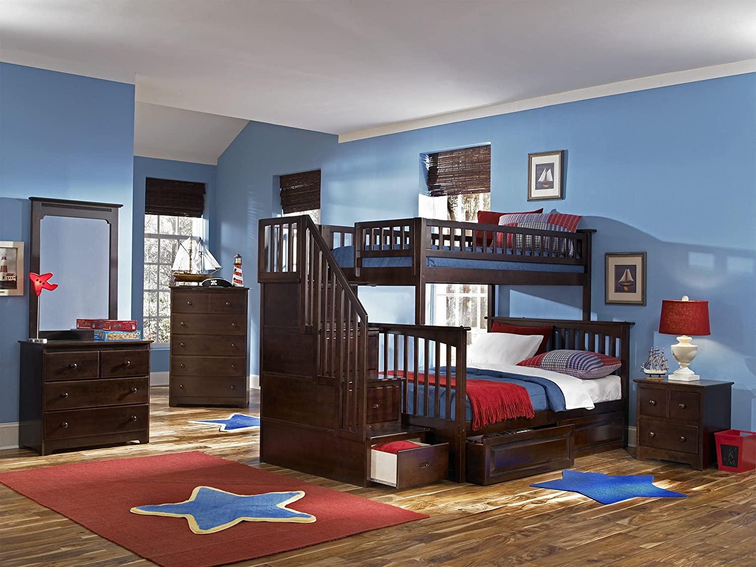 amazoncom columbia staircase bunk bed with 2 raised panel bed drawers twin over full antique walnut kitchen u0026 dining
