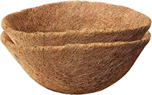 Micgeek 2PCS Round Coco Liners for Hanging Basket, 12 in Coconut Fiber Planter Liners Coconut Fiber Liners for Wall Hanging Baskets, Garden Planter Flower Pot (12 in)