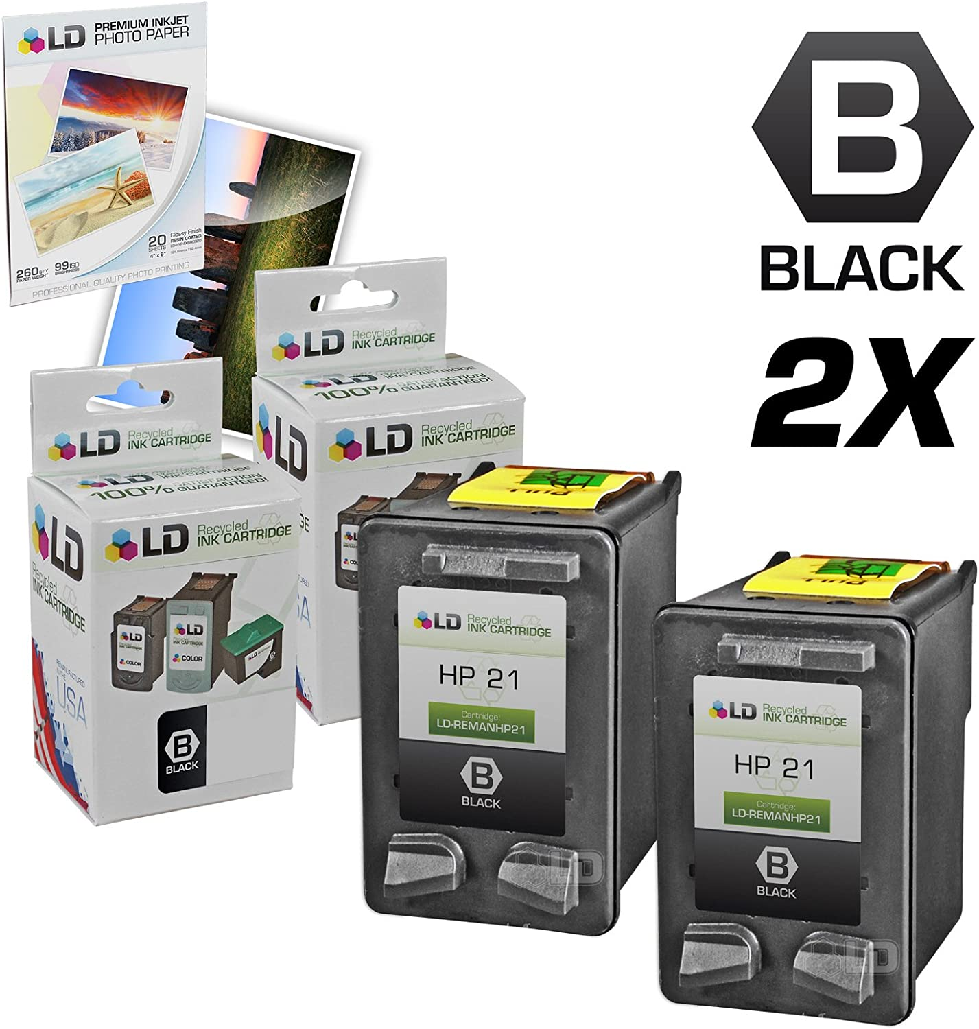 LD Remanufactured Ink Cartridge Replacement for HP 21 C9351AN (Black, 2-Pack)