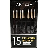ARTEZA Detail Paint Brushes, Set of 15, Fine Detail Brush Set for Miniature Models and Canvases, Synthetic Bristles…